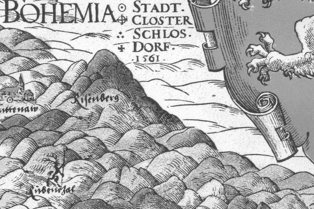 Výřez z mapy z roku 1561 s popisovanou oblastí.