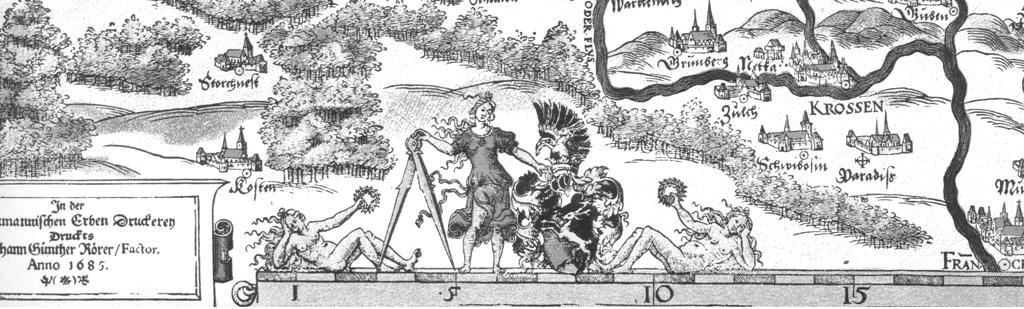 Znak na okraji mapy na vydání z r. 1685, v sousedství tiráže tiskárny